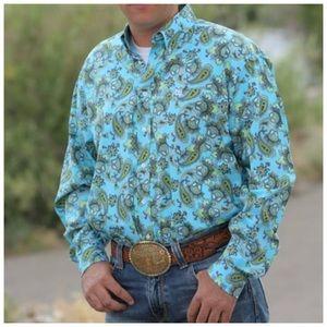 Mens Cinch Long Sleeve Bold Paisley Shirt Sz Small